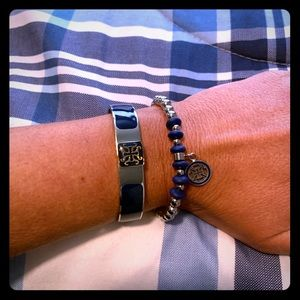NEW Rustic Cuff Blue/Silver Bracelet Set